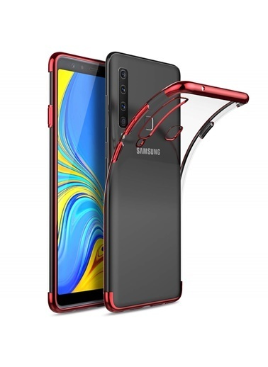 Microsonic Samsung Galaxy A9 2018 Kılıf Skyfall Transparent Clear  Kırmızı